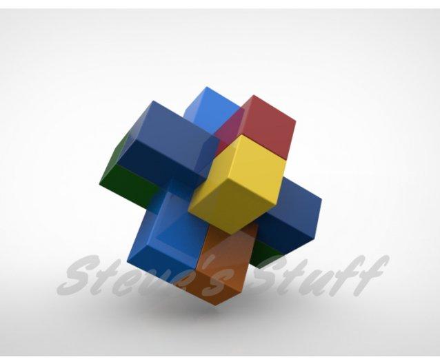 6 Piece Burr Puzzle / Fabbly com